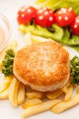 french fries with cutlet for kids menu