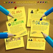 Creative Template Infographic With Post-it And Pencil