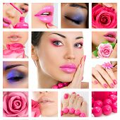 Makeup Collage. Beautiful Young Women With Stylish Bright Make-up.