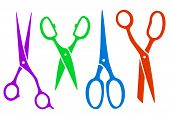set colorful four scissors