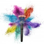 makeup brush with color powder isolated on white background