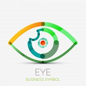 Vector humam eye company logo design, business symbol concept, minimal line design