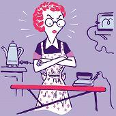 Desenho de ilustração mulher dona de casa vector