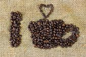 I Love Coffee Symbols Made Of Coffee Beans On Sack Background