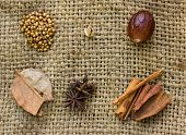 Star Anise, Cloves, Cinnamon Sticks, Nutmeg And Mace Spice On Sack  Background.