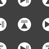 Play button web icon. flat design. Seamless pattern.