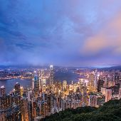 Hong Kong city night with building skyline and skyscraper in Hong Kong.