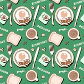 Seamless pattern with breakfast food.