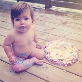 Baby and Birthday cake with instagram effect