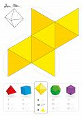 stock photo of octahedron  - Paper model of an octahedron - JPG