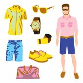 Hipster character pack for geek boy with accessory clothing vector