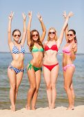 summer vacation, holidays, gesture, travel and people concept - group of smiling young women showing