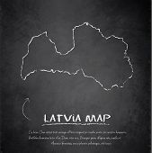 Latvia map blackboard chalkboard vector