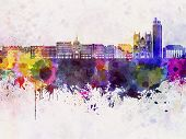 Nantes Skyline In Watercolor Background