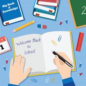 Back to School Flat Style Vector Background With Books Pencils Pen and Other Stationary