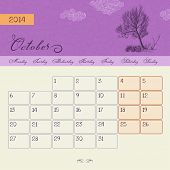 Calendar for October 2014, vector