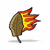 cartoon burning dry leaf symbol