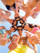 friendship, summer vacation, holidays, gesture and people concept - group of smiling friends wearing