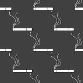 Smoking sign. cigarette. flat design. Seamless gray pattern.