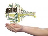 Concept or conceptual abstract business marketing word cloud or wordcloud in man or woman hand on wh