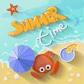 Summer time poster. Vector illustration with Sea, sun,