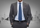 business, people and office concept - close up of businessman over gray city sketch background