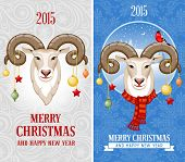 Christmas greeting cards with goat, symbol of year 2015.