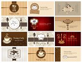 Business cards of food and drink