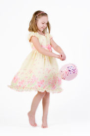 foto of grils  - young gril in easter dress with an easter basket - JPG