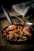 picture of stew  - chicken with mushrooms and vegetables stewed in wine - JPG