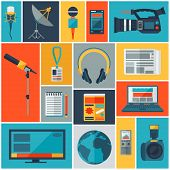 image of mass media  - Background with journalism icons - JPG