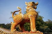 Thai golden lion statue style