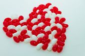 image of jelly beans  - Heart shaped red and white jelly beans - JPG