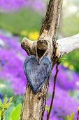 Old Wooden Heart In Front Of A Colorful Meadow