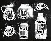 image of milk  - Milk symbolic drawing milk with drops and sprays lettering - JPG