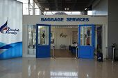 BANGKOK, THAILAND - NOV 11: baggage services area on November 11, 2014. Suvarnabhumi Airport is one of two international airports serving Bangkok