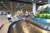 BANGKOK, THAILAND - NOV 11: Suvarnabhumi Airport baggage claim area on November 11, 2014. Suvarnabhumi Airport is one of two international airports serving Bangkok