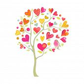 Holiday tree of hearts and bird in watercolor style, vector illustration.