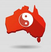 Australia Map Icon With A Ying Yang