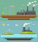 Ecology Concept. Green Energy And Environment Pollution Designs, Nuclear Power Plant, Flat Design