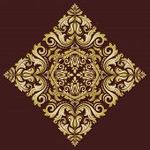 Damask Vector Pattern. Orient Golden Ornament