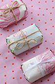 three pastel presents