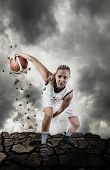 Basketball Player Running On Grungy Surface