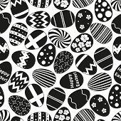 Various Black Easter Eggs Design Seamless Pattern Eps10