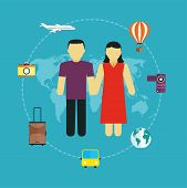 Icons Set Of Traveling,  Tourism And Journey Planning A Summer Vacation, Concept Of Travel