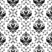 Wallpaper in the style of Baroquen. Abstract Vector Background. Black and White Colors