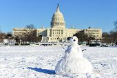 Washington DC in Winter - Snowman in front of  the Capitol  Building