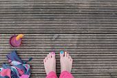 Barefoot on the deck