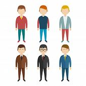 Set of flat human characters  young men  on white, vector