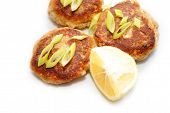 pic of crab-cakes  - Fried Fish Cakes With Scallions and Lemon - JPG